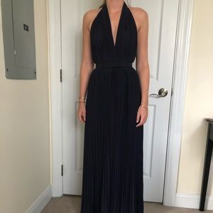 Halston Heritage pleated gown in Navy, size 6